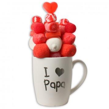 Taza Día del Padre con letras plateadas