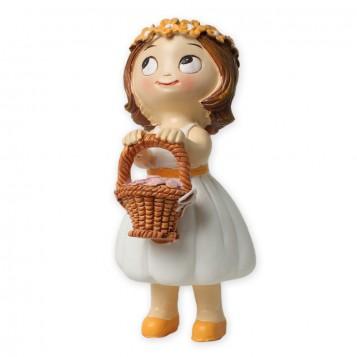 Figura para tarta de boda niña con cesta de pétalos