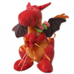 Dragón de Sant Jordi de peluche con rosa de chuches
