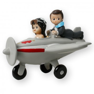 Figura para tarta de boda novios en avioneta