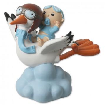 Figura para bautizo niño con cigüeña en nube