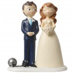 Figura para tarta de boda novios bola de prisionero
