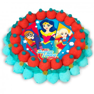 Tarta de chuches Super hero Girls