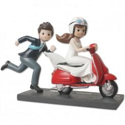 Figura novios moto roja
