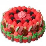 Tarta grande de chuches rojas