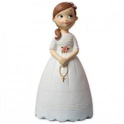Muñeca para tarta de comunión con rosario