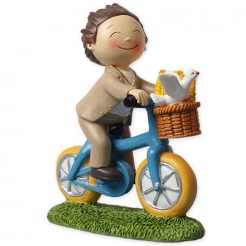 Figura para tarta de Comunión niño en bici