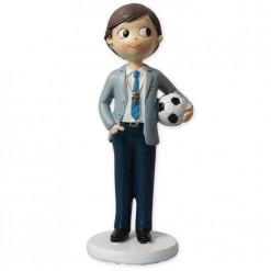 Figura niño comunión pelota de fútbol
