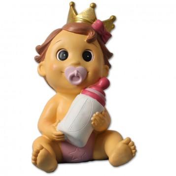 Figura hucha niña con corona para bautizo