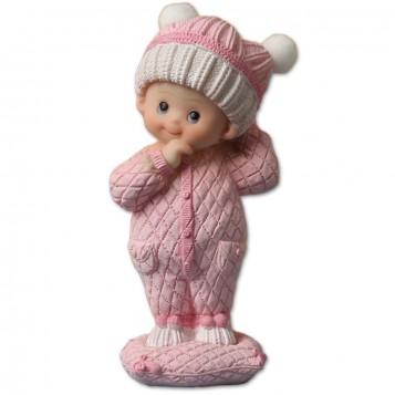 Figurita bebé con pelele rosa para bautizo