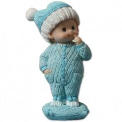 Figura bebé con pelele azul para bautizo