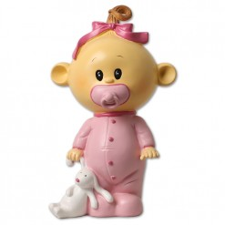 Muñeca para tarta de bautizo color rosa