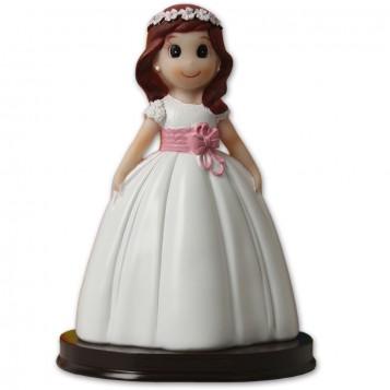 Muñeca niña de comunión para tarta