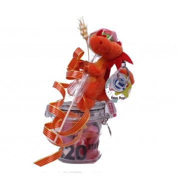 Llavero dragón rojo con chuches y rosa