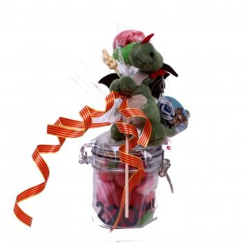 Llavero dragón verde con chuches y rosa