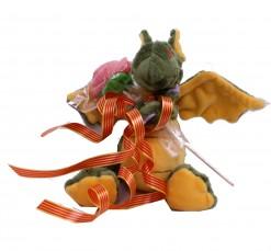 Dragón y rosa 15 cm