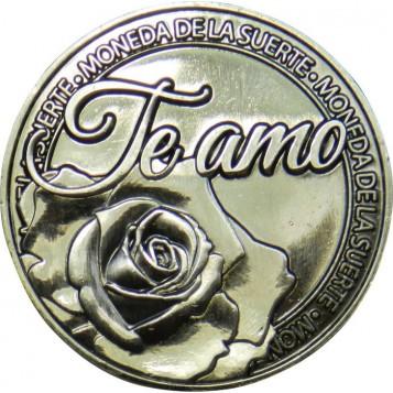Llavero Moneda Te Amo con rosa