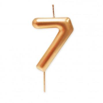 Vela grande metalizada oro nº 7