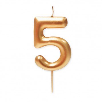 Vela grande metalizada oro nº 5