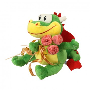 Peluche dragon y rosa chuches