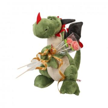 Peluche dragon con flor chuches