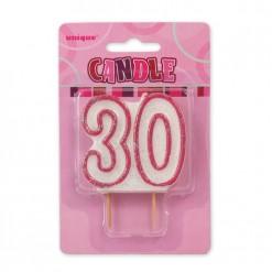 VELA GLITZ ROSA Nº30
