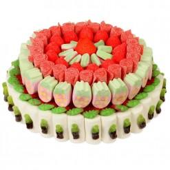 Tarta redonda con fresas y colas