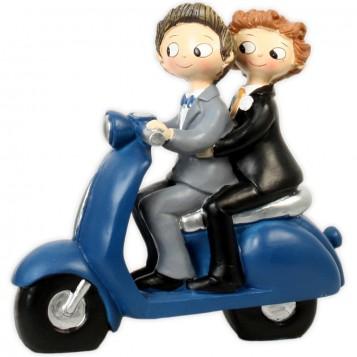 Figura boda novios chicos moto