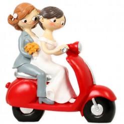 Figura boda novios chicas moto