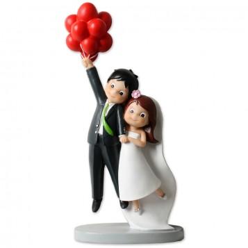 Figura boda novios con globos