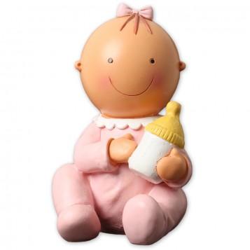 Figura para tarta bautizo bebé niña con biberón
