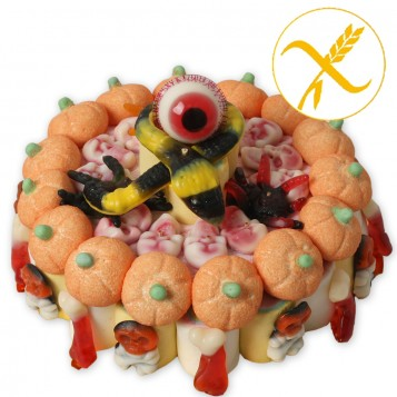 Tarta de chuches sin gluten Halloween