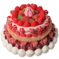 Tarta de chuches grande en tonos rosa